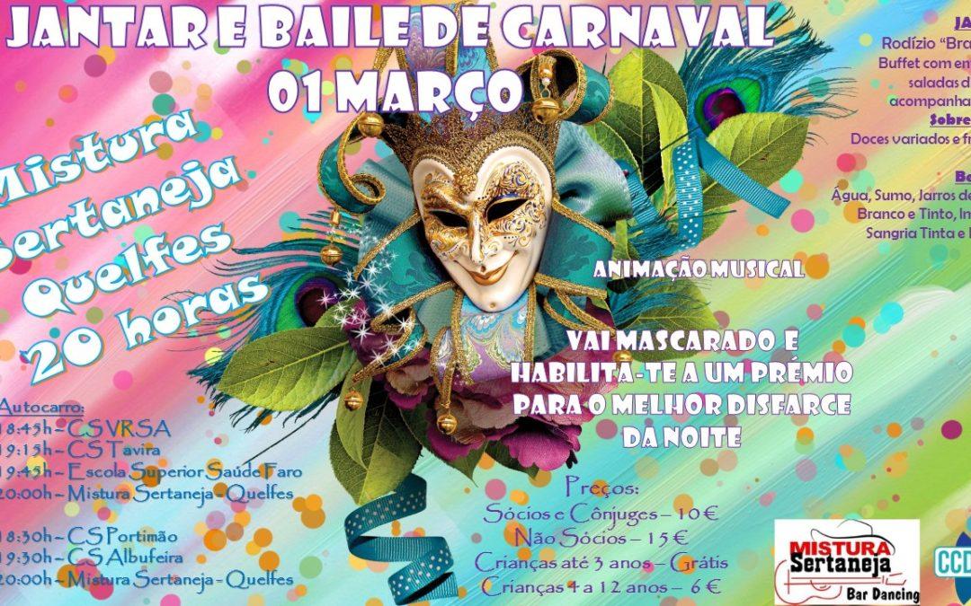 JANTAR E BAILE DE CARNAVAL – 01 DE MARÇO